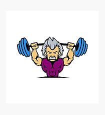 Old man lifting weights cartoon Photographic Print