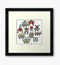 Funny robots-aliens in the circle. Framed Print