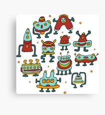 Funny robots-aliens in the circle. Canvas Print