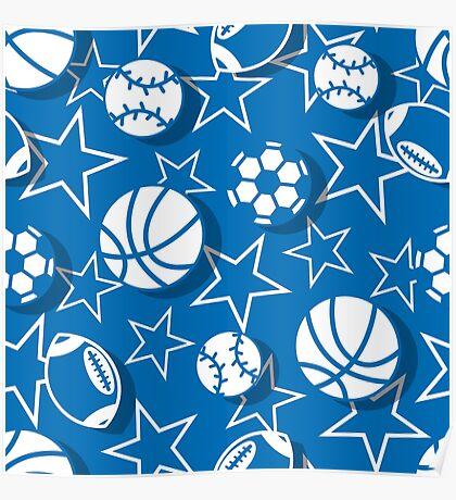 Team sports blue Poster
