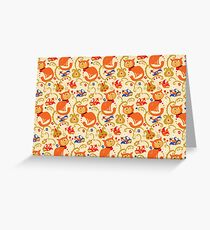 RED cat BLUE bird pattern. Greeting Card