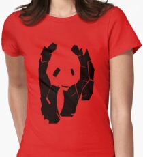 Panda At The Corner Womens Fitted T-Shirt