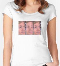 white guy blinking Women's Fitted Scoop T-Shirt