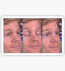 white guy blinking Sticker