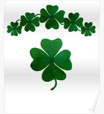 Lucky 4-Leaf Clover Shamrocks Motif Poster