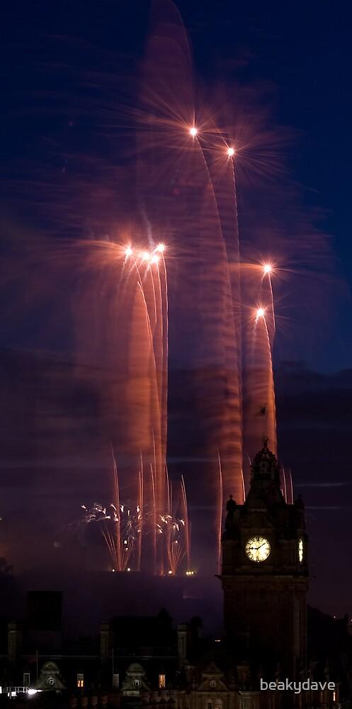 Fireworks and Balmoral Hotel, Edinburgh by beakydave