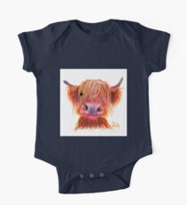 Scottish Highland Hairy Cow ' CHILLI CHOPS ' by Shirley MacArthur One Piece - Short Sleeve