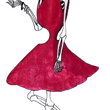 Red Dress Skully by hatoola13