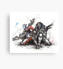Shepard, Garrus and Liara trio sumi and watercolor style Canvas Print