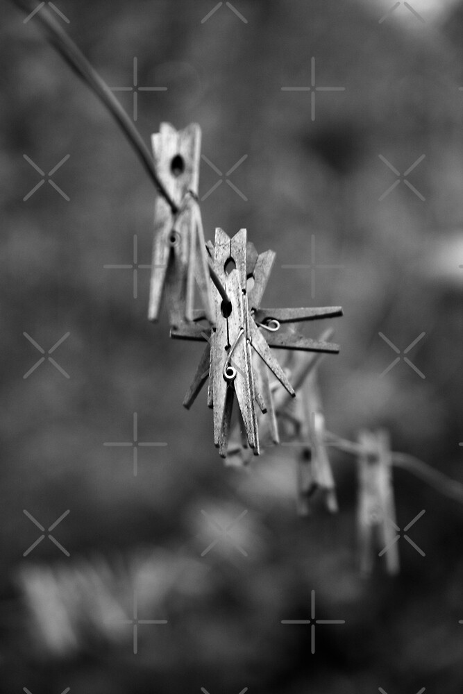 Clothes Pins on the line. by Angela E.L. Clements