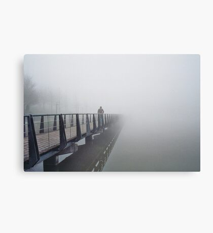 n°148: Street photography, walker in the mist Canvas Print