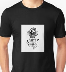 Happy Easter - Easter Bunny, Easter Basket And Easter Eggs Unisex T-Shirt