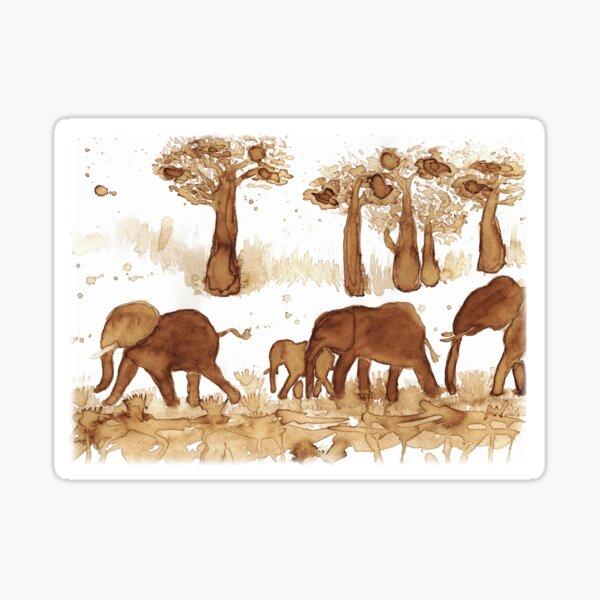 Elephant Herd - CoffeeART Sticker