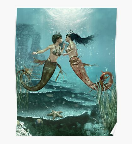 Friendly Mermaids Poster