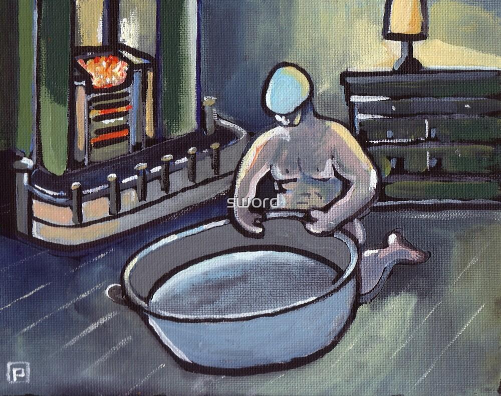 Big geordies bath night (from my original painting) by sword