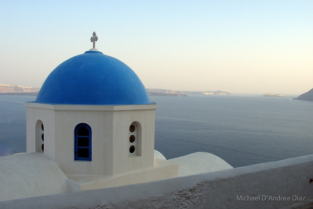 Oia Church By The Sea by Michael D'Andrea Diaz