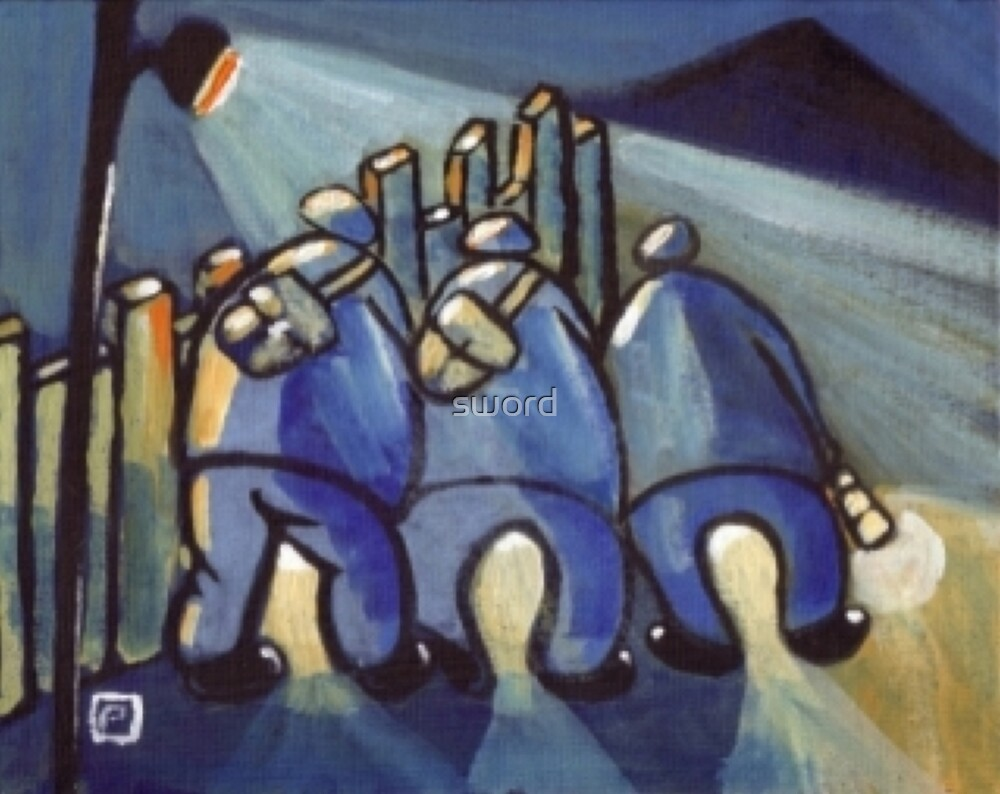 3 Coal miners (from my original painting) by sword