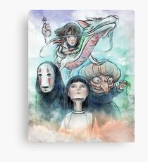 Spirited Away Miyazaki Tribute Watercolor Painting Canvas Print