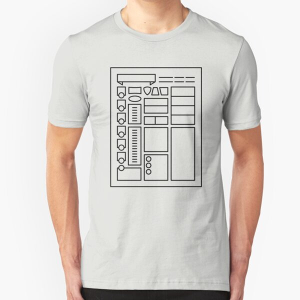 Character Sheet - Dungeons & Dragons Line Art Series Slim Fit T-Shirt
