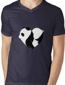 Heart Panda Mens V-Neck T-Shirt