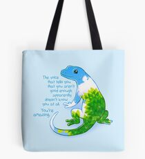 """Du bist erstaunlich"" Summer Leaves Gecko Tote Bag"