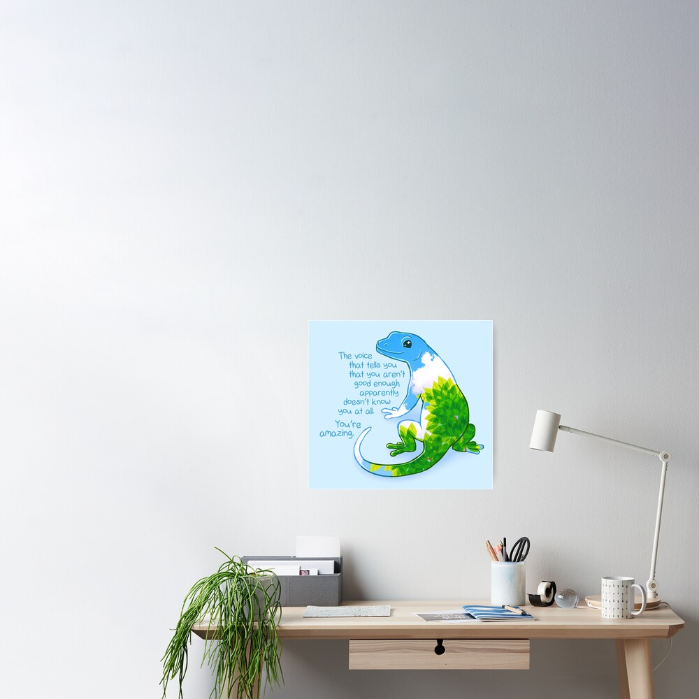 """""""You're Amazing"""" Summer Leaves Gecko Poster"""