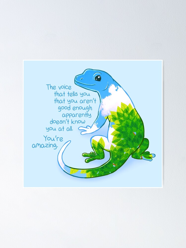 """Alternate view of """"You're Amazing"""" Summer Leaves Gecko Poster"""