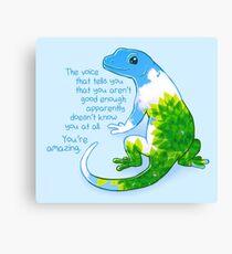 """""""Du bist erstaunlich"""" Summer Leaves Gecko Leinwanddruck"""