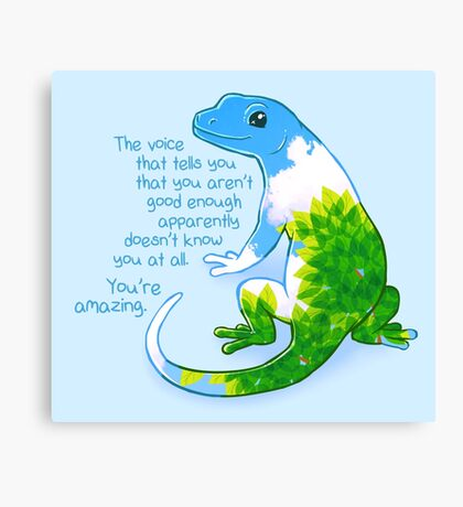 """You're Amazing"" Summer Leaves Gecko Canvas Print"