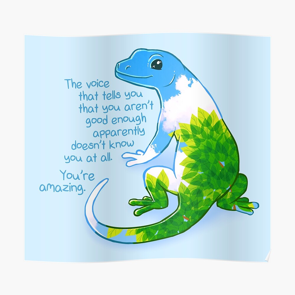 """""""Eres increíble"""" Summer Leaves Gecko Póster"""