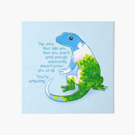 """You're Amazing"" Summer Leaves Gecko Art Board Print"