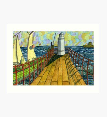 149 - BLYTH PIER 1914 (WATERCOLOUR) Art Print