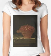 Adriaen Coorte - A Bowl Of Strawberries On A Stone Plinth, 1696 Women's Fitted Scoop T-Shirt