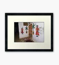 Doorkeepers Wall Painting Varanasi Framed Print