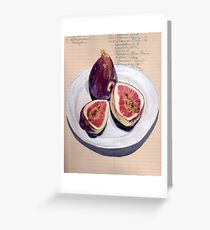 Figs on a Plate in Gouache Greeting Card