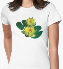 Two Yellow Water Lilies Womens Fitted T-Shirt