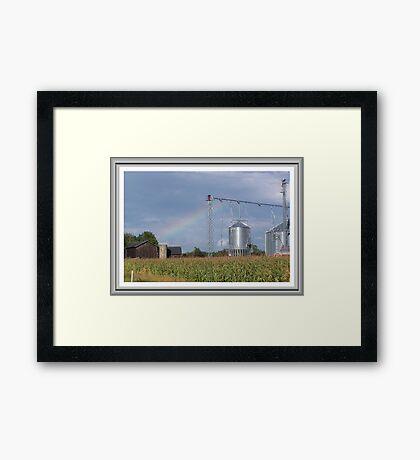 Rainbow O`er the Farmland Framed Print