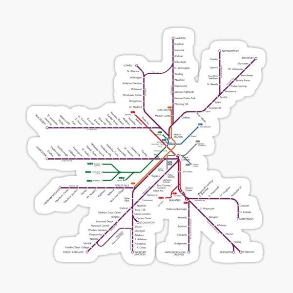 Boston Rail Map Sticker