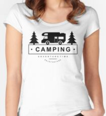 Camping Camp Outdoor Nature Mountain Green Adventure Women's Fitted Scoop T-Shirt