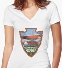 Cuyahoga Valley National Park arrowhead Women's Fitted V-Neck T-Shirt