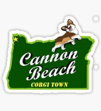 Cannon Beach - Corgi Town Sticker