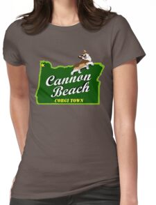 Cannon Beach - Corgi Town Womens Fitted T-Shirt