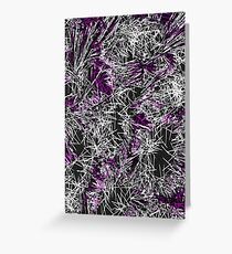 psychedelic geometric sketching abstract in pink purple black and white Greeting Card