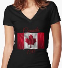 Canada 150 Women's Fitted V-Neck T-Shirt