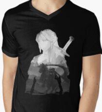 Monochrome Hero Mens V-Neck T-Shirt