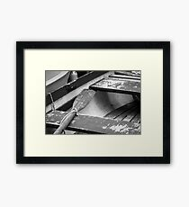 Wooden Oar in Boat - Photograph by Anthony Symes Framed Print