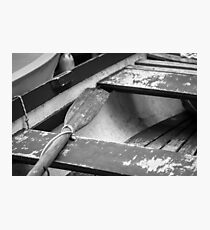 Wooden Oar in Boat - Photograph by Anthony Symes Photographic Print