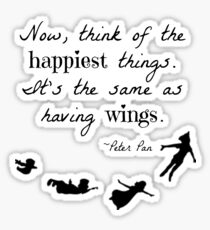 Peter Pan Happiness Quote Sticker