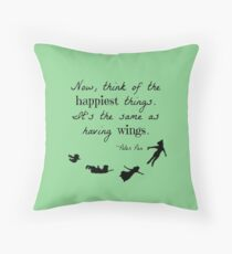 Peter Pan Happiness Quote Throw Pillow