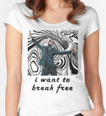 MORIARTY BREAK FREE - NOT FOR DARK CLOTHING Women's Fitted Scoop T-Shirt